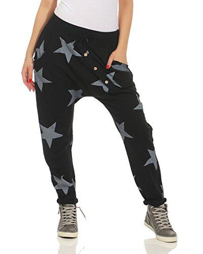 Zarmexx Damen Sweatpants Baggy Boyfriend mit Knopfleiste Freizeithose Jogginghose Baumwolle Sporthose Yogapants Jogger Loose fit Big Star One Size (Einheitsgröße, schwarz)