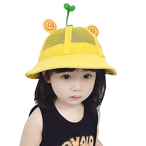 ZHANGYAN Kinderschatten Fischer Hut UPF 50+ Waschbecken Hut Mesh Atmungsaktives Strand Sonnenhut 0-8 Jahre alt (Color : Yellow, Size : 52cm/20.4in)