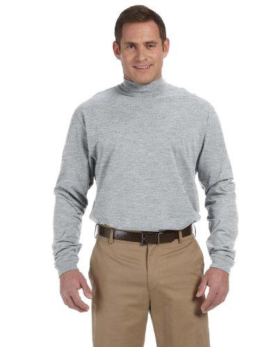 Devon & Jones Mens Sueded Cotton Jersey Mock Turtleneck (D420) -GREY HEATH -L