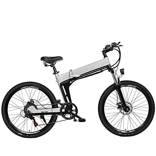 WXDP Mountain Bike elettrica semovente per adulti, telaio in lega di alluminio, 26 pollici pieghevole City E-Bike doppio freno a disco 7 velocità 48 V, batteria sostituibile, argento, B 10AH