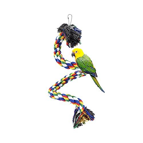 Andiker - Perchas para Pájaros, Juguetes de Columpio de Loro Colorido Cuerda de Escalada, Soporte para Loro con Campana y Clip para Colgar para Loros, Periquitos, Guacamayos, Periquitos (50cm)