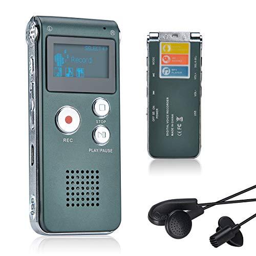 Lychee Professionale Registratore Vocale Digitale Portatile, 1536kbps,8 GB Multifunzionale USB Digital Audio Voice Recorder con Lettore MP3 (Grigio)