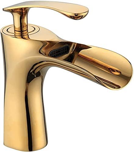 FDABFU Grifos de Lavabo de baño Mezclador de Lavabo en Cascada Palanca de una manija Grifos de Lavabo de Montaje de un Orificio Dorado 2204G