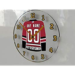 Hockey Wall Clocks - 12 X 12 X 2 N H L Jersey Themed Clock - Metropolitan Division - Let's GO Editions !! (Let's Go Canes Edition)