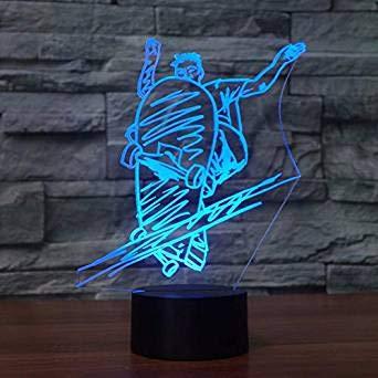 3D de la Moda de la diapositiva de la Placa de la Luz de la Noche de la Ilusión de la Lámpara de 7 Cambio de Color LED Táctil USB Mesa de