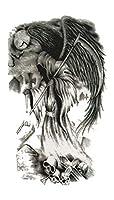 (ファンタジー) THE FANTASY タトゥーシール 死神 髑髏 スカル Grim Reaper-1【中型・A5】 (yms020)