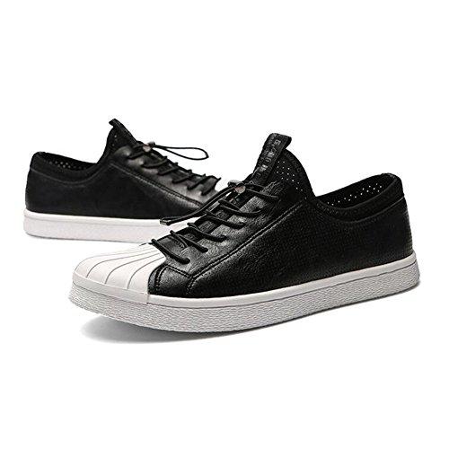 QIDI-Men's shoes Qidi Décontracté Chaussures Mâle Mode Respirant antidérapant Mouvement Unique Chaussures EU40/UK7 Noir