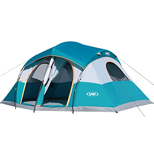 UNP Tents for Camping with 1 Mesh Door & 5 Large Mesh Windows 14' x 14' x78in - 8 Person Tent Waterproof Windproof Easy Setup, Family Camping Tent with Dividers Awning (2 Room)