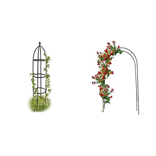 Relaxdays Rankhilfe Obelisk Metall 190 cm, Ranksäule witterungsbeständig freistehend f. Kletterpflanzen & Torbogen Garten pulverbeschichteter Stahl, Rosenbogen für Kletterpflanzen wetterfest, schwarz