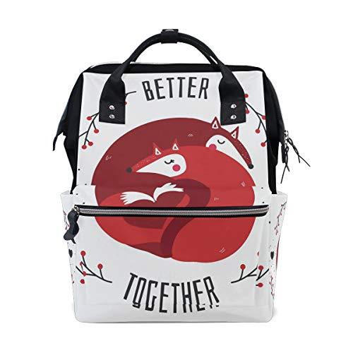 Cute Fox Lover Better Together Sac à dos à langer pour maman Sac à langer grande capacité Sac de voyage pour femme Sac à dos d'école Sac de randonnée