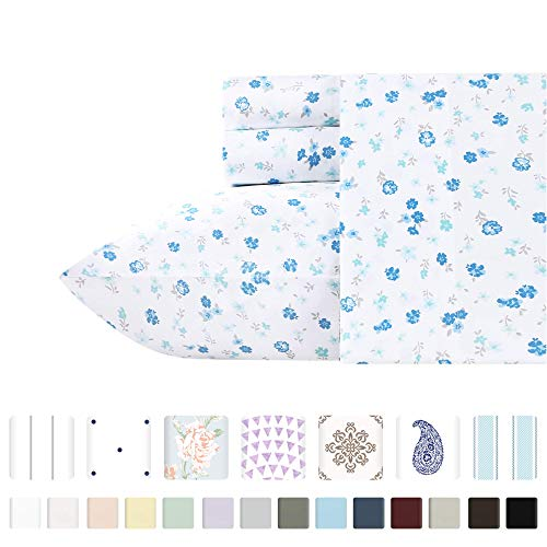 California Design Den 400-Thread-Count 100% Cotton Queen Sheets - Printed Blooming Meadows 4 Piece Bedding, Lightweight Sateen Weave Natural Cotton Bed Sheets, Deep Pocket Fits Mattress 16 Inches