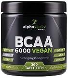 BCAA 6000 vegan - 360 Tabletten á 1000 mg reine BCAAs - ohne Magnesium Stearat - glutenfrei -...