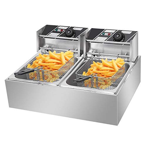 5000W 12L Dual Tanks Electric Deep Fryer Professional Tabletop Restaurant...