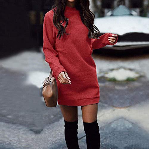 Vestidos De Fiesta Vestir Dress Mujer Niña Vestido De Suéter Casual Mini Vestido Corto De Manga Larga con Cuello En O Grueso Delgado para Mujer Falda De Moda De Punto-Red_L