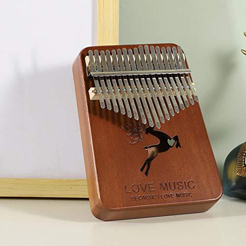 FUMENG 17 Llaves Thumb Piano, Kalimba, portátil Caoba Africano Dedo de Madera Piano para Principiantes y Jugadores avanzados,Retro