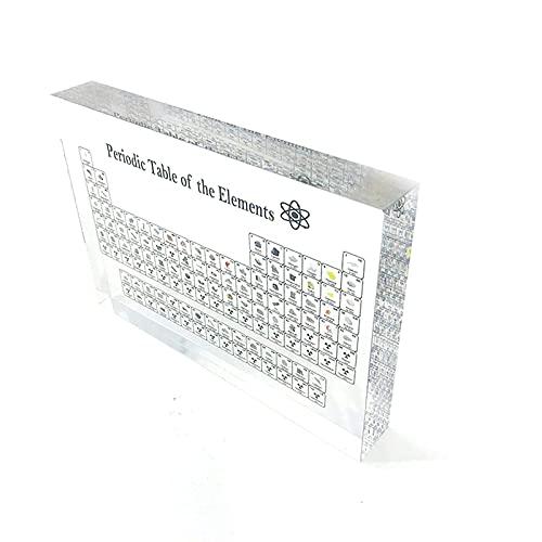 Elemento químico Periódico Mesa y elementos reales acrílico visualización de mesa periódica con elementos herramienta de enseñanza estudiante profesor regalo manualidades decoración (170X120X20MM)
