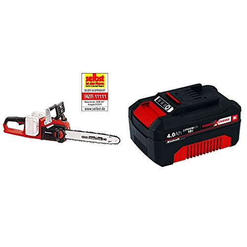 Einhell GE-LC 36/35 Li-Solo BL - Motosierra a batería Power X-Change, 2x18 V, Brushless + 4511396 Power X-Change - Batería de repuesto, 18 V, 4.0 Ah, duración de carga de 60 minutos