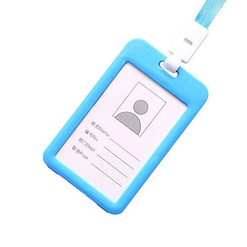 Colorful Ausweishalter Kartenhülle Ausweishülle mit Lanyard für ID Karten, Business, Mitarbeiter, Studenten, Besucher, Tragbare vertikal Badge (Hellblau)