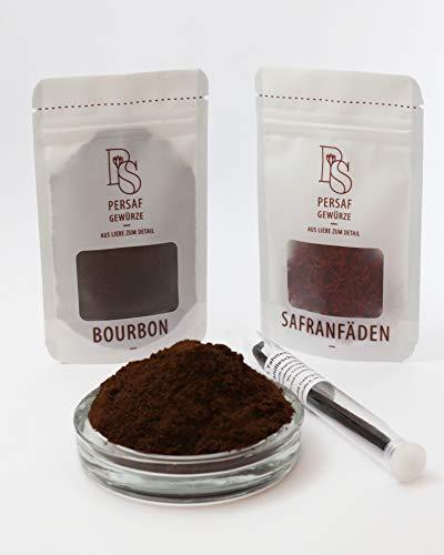 PerSaf Bourbon Vanille Pulver 25 Gramm I Vanillepulver zum Kochen & Backen in Gourmet Qualität I 100% natürlich & fair gehandelt I Gratis dazu 1 Vanilleschote & 0,5 Gramm Safran