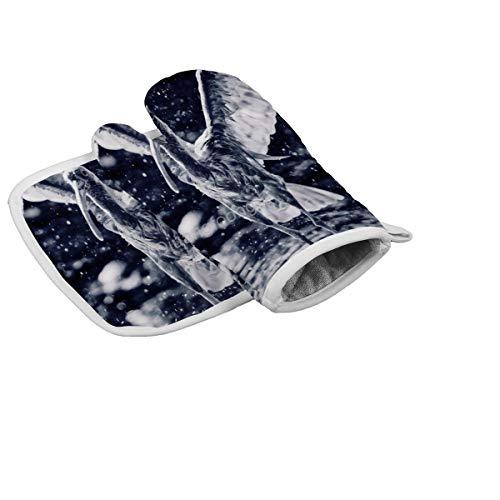 Diuangfoong Ibis Ofenhandschuhe, hitzebeständig, für Mikrowelle, Backen, Grillen, 2-teiliges Set