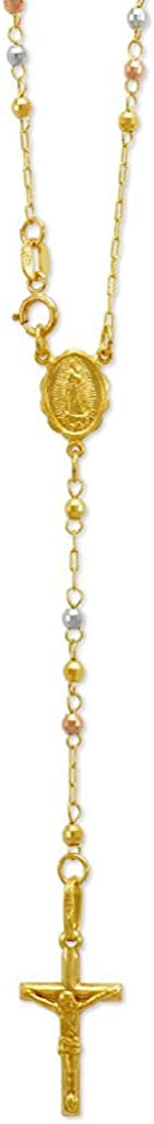 TOUSIATTAR Rosary Chain Necklace 14K Gold - Nice Shiny Yellow Tricolor Pendant Flawless Jewelry Gift for Women and Men - Available 16 to 24 Inches Length - 2.5MM Wide