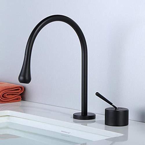 Grifo Baño Lavabo 2 Orificios Fria y Caliente Latón Giratorio A 360° Grifo de Lavabo-Negro