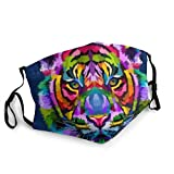 Colorful Tiger Head Isolated On Blue Background Men's and Women's Mouth Face Mask Anti Breathable Filter Dust Absorb Sweat Washable Reusable Masks For Cycling Camping Ski Travel Outdoor