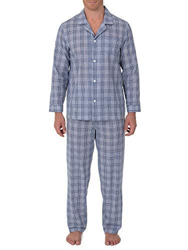 Geoffrey Beene Men's Broadcloth Long Sleeve Pajama Set, Navy/White Check, Large