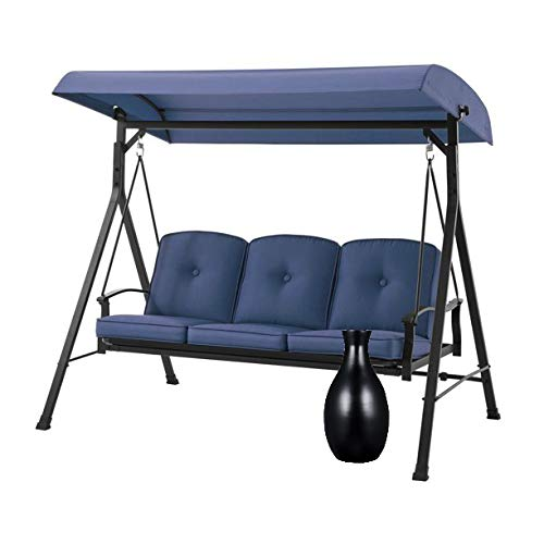 """Mainstays' Belden Park Outdoor 3-Seat Porch Swing and Bed with Canopy and Tall Black 16"""" Bamboo Vase, Blue"""