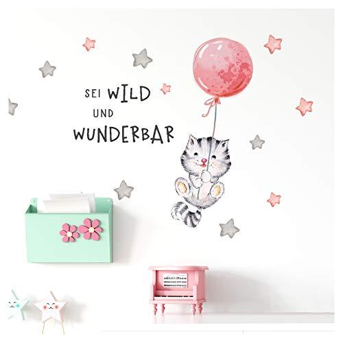 Little Deco Wandbilder Spruch sei wild & Katze I Wandbild M - 143 x 68 cm (BxH) I Luftballon Wandtattoo Aufkleber Kinderzimmer Mädchen Tiere Deko Babyzimmer Kinder DL322