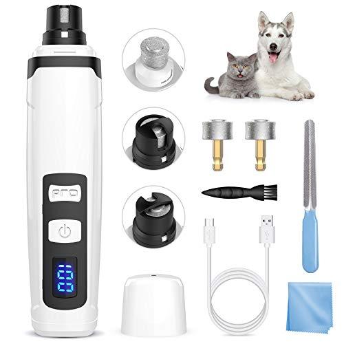 BURNNOVE Krallenschleifer Hund Elektrische Nagelschleifer Haustier mit 2 Schleifköpfen Nagelschleifer USB-Schnellladung 2 Geschwindigkeiten einstellbar Krallenpflege für Hunde Katzen