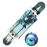 Qinmo Estándar monopatines, 31 pulgadas completa monopatín, 7 capas de arce Longboard monopatín con luminoso de ruedas, Freeride de diapositivas, Freestyle y Freestyle de descenso crucero for adolesce