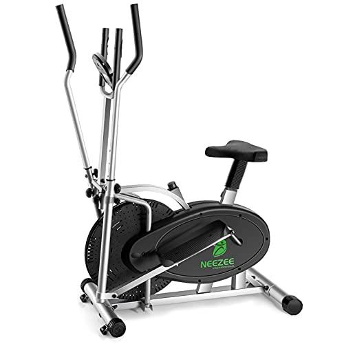 Neezee Cross Trainer, 2 en 1, máquina de entrenamiento elíptico, bicicleta de ejercicio con asiento y resistencia magnética ajustable y monitor LCD