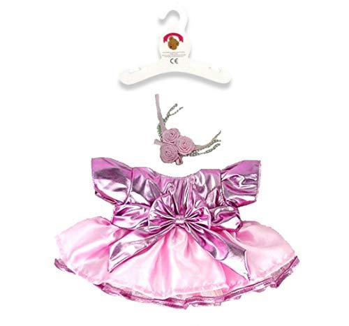 Build Your Bears Wardrobe-15 cm-Vestiti per Orsetto: Metallo Vestito e Fiori, Colore: Rosa