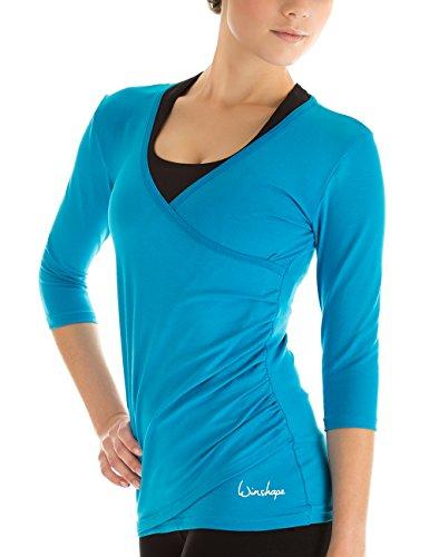 Winshape Damen 3/4-arm Shirt in Wickeloptik Fitness Yoga Pilates Freizeit WS3-TUERKIS-M
