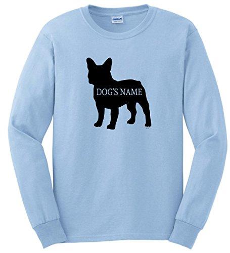 Personalized Dog Collar Personalized French Bulldog Add Dog's Name Custom Long Sleeve T-Shirt Large LtBlu Light Blue