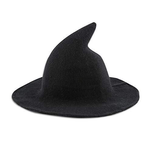 Leuceiy Women Witch Hat for Halloween Wool Hats Party and Daily Black