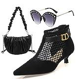 Zapatos Cómodos de Tacón Alto para Mujer, Bolso de Mensajero de Moda y Conjunto de Gafas de Sol, Sandalias Puntiagudas, Gafas de Sol Polarizadas Anti-Ultravioleta de Diamantes de Imitación,42