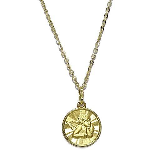 Never Say Never Medalla para bebé con Angelito de 13mm y Cadena Forzada picada de 40cm Todo Oro 18k. Peso, 1.60gr de Oro de 18k
