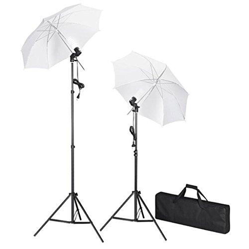 vidaXL Kit de Studio Photo avec Lampes Pieds et Parapluies Lumière Vidéo