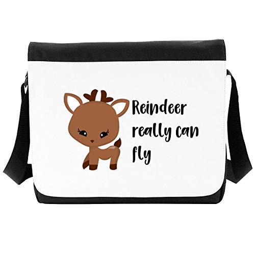 Reindeer Really Can Fly Festive Christmas Crossbody Strap Shoulder Bag - Large