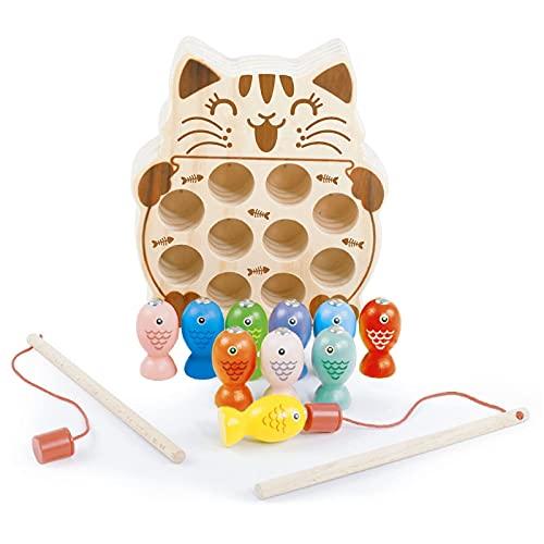 Holzspielzeug Angelspiel, Magnetspiel Motorikspielzeug, 10 Stück Kätzchenform Kinderspielzeug, Magnet Pädagogisches Spielzeug, Lernspielzeug, Geschenk für Mädchen Jungen 2 3 4 Jahre