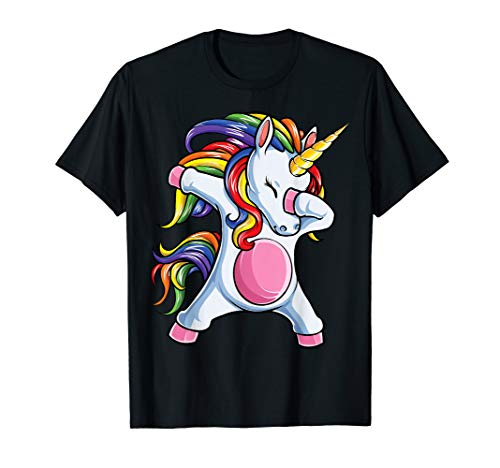 Dabbing Unicorn T shirt Girls Kids Women Rainbow Unicorns