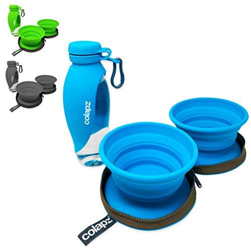 Reiseset - Zwei Faltbare Hundenäpfe mit Hunde Wasserflasche für unterwegs–Reisezubehör für Haustiere und Welpen – Zubehör für Hundespaziergänge - Blau