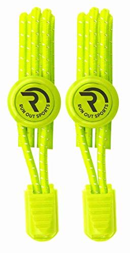 RUN OUT SPORTS elastische Schnürsenkel - Schnellschnürsystem ohne Binden -Schnürsenkel elastisch reflektierend mit Schnellverschluss - für Kinder und Erwachsene - Schuhbänder für Schuhe (neon-gelb)