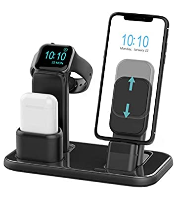 Beacoo Upgraded 3 in 1 Charging Stand for iWatch Series 5/4/3/2/1, Charging Station Dock Compatible with Airpods iPhone 11/11pro/max/Xs/X Max/XR/X/8/8Plus/7 /6S /9.7 inches iPad(No Charger & Cables) from BEACOO
