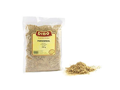 DIBO Pansenmehl, 250g, Naturkau-Snack für Zwischendurch oder als Zugabe zum Futter, Hundefutter, Qualitätsartikel ohne Chemie