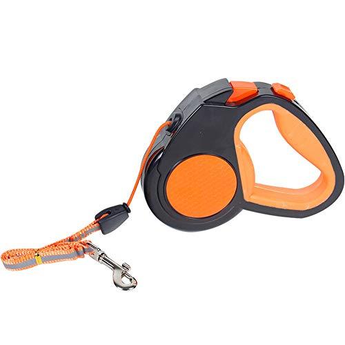 TFWJ Hundeleine Einziehbare Führleine Starke Leine Reflektierende Automatik für Hunde Sicherheit Gurt Bis Anti Rutsch Strapazierfähige,Orange,5M