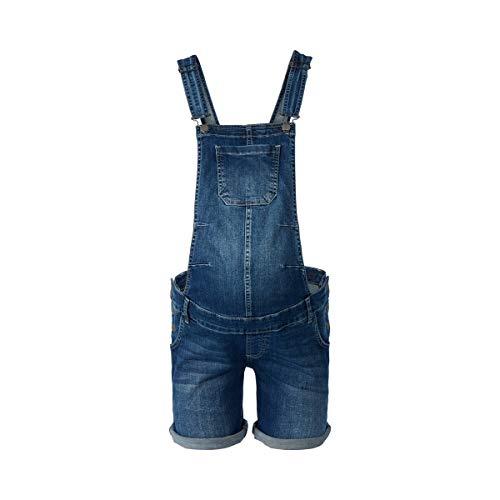 2HEARTS Umstands-Latzhose Love - Kurze Latzhose aus Stretch-Denim für die Schwangerschaft - Latz-Shorts mit verstellbaren Trägern - Denim
