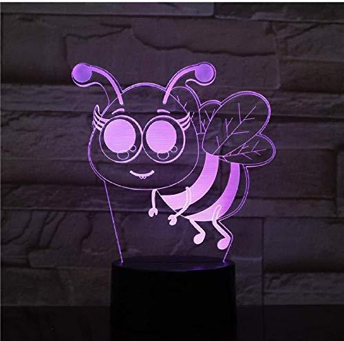 Biene 7 Farben 3D LED Nachtlicht Schlaf Schlafzimmer Decor Lampe Liebe Geschenk für Tiere Valentinstag